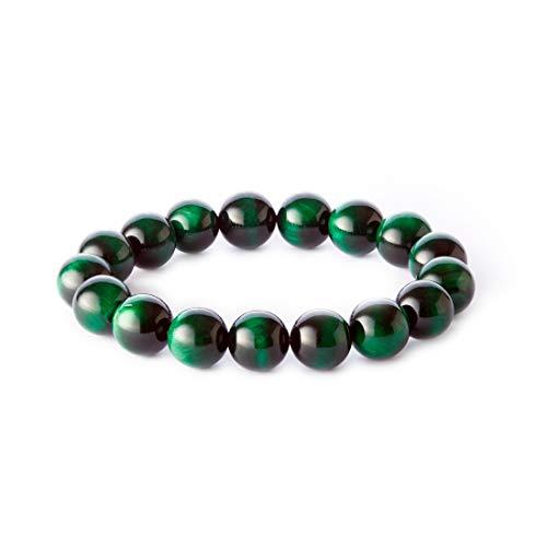 YD 12mm Tiger Eye Stone Handmade Beaded Bracelet Men's Bracelet (Green) ()