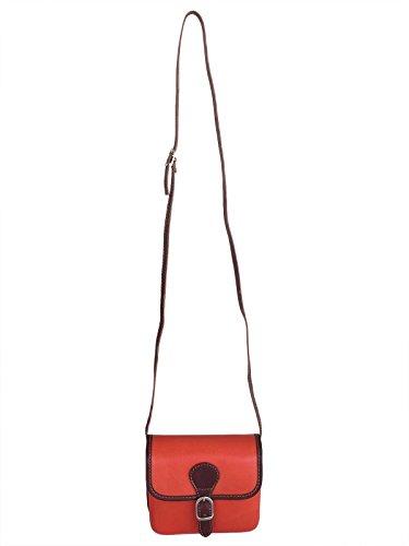 Ateliers Florentins Braia - Bolso cruzados de Piel para mujer marron-orange