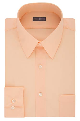 (Van Heusen Men's Dress Shirt Fitted Poplin Solid, Scallop, 17.5