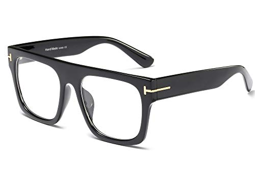 - Allt Unisex Oversized Square Optical Eyewear Non-prescription Eyeglasses Flat Top Clear Lens Glasses Frames (Black)