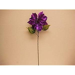JumpingLight 2 Sprays Purple Poinsettia Glitter Christmas Artificial Flower 29'' Stem 5073PU Artificial Flowers Wedding Party Centerpieces Arrangements Bouquets Supplies 89