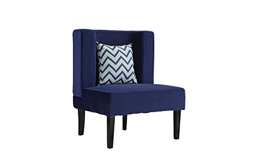 Accent Chair for Living Room, Upholstered Armless Velvet Chairs with Back Cushion and Natural Wooden Legs (Navy) by Divano Roma Furniture (Image #2)