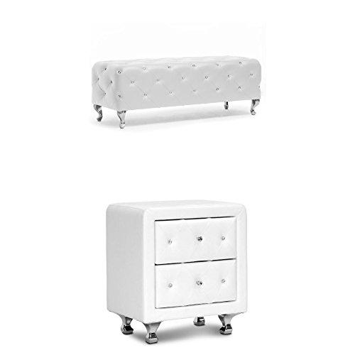 Baxton Studio 2-pc Stella Crystal Tufted Upholstered Modern Bench and Nightstand Bedroom Set , White (Baxton Studio Stella Crystal Tufted Modern Bench)