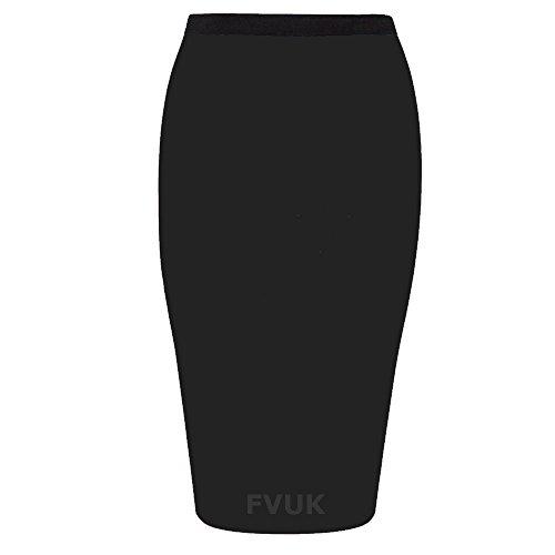 de jupe Stretch bureau Bodycon Mini Midi Maillot Uni le pour travail Noir qxw88tAf