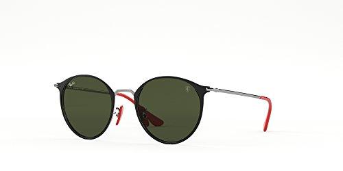 Ray-Ban RB3602M Scuderia Ferrari Collection Round Sunglasses, Black on Gunmetal/Green, 51 mm (Billig Ray Ban Sonnenbrillen Online)