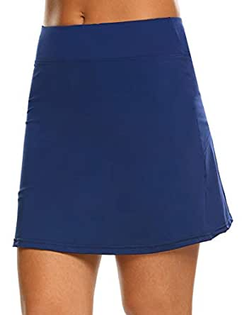 IN'VOLAND Women's Tennis Skorts Running Skirt with Shorts Inner for Golf Workout Casual Gym Blue