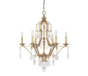 Six Light Accents Chandelier (Capital Lighting 4186AG-CR Blakely 6-Light Chandelier, Antique Gold Finish with Clear Crystal Accents)