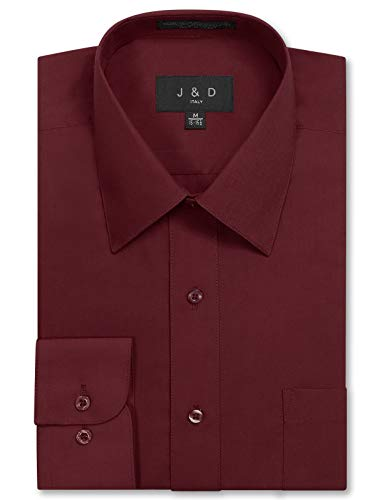 Burgandy Apparel - JD Apparel Men's Long Sleeve Regular Fit Solid Dress Shirt 17-17.5 N 34-35 S Burgundy,X-Large