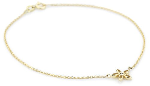 """Mizuki 14k Bracelet Cable Chain 7.5"""" Charm Flower Diamond X Small"""