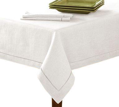 New 60x120 White Hemstitch Single Border Tablecloth ()