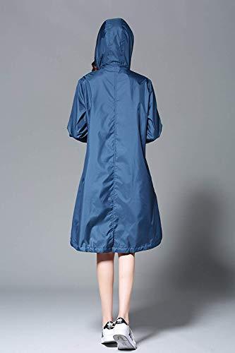 Blau Impermeable Fashion Chubasquero Ropa Impermeables Las Saoye Sólido De Chaquetas Grüne Mujeres Color 5P1xq