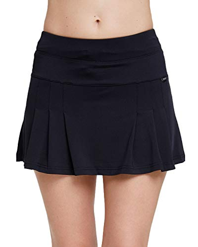 (Amormio Women's Solid High Waisted Pleated Skort Quick-Dry Running Tennis Golf Mini Skirt with Underneath Shorts (Black, Small))