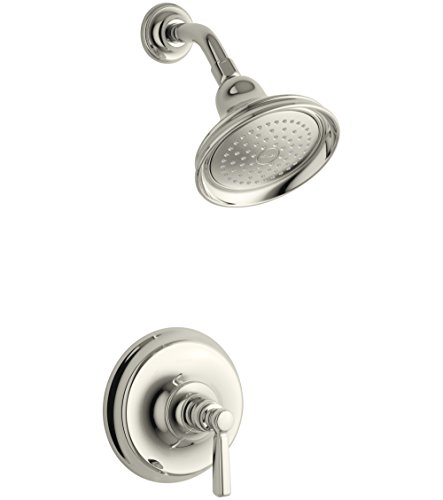 (Kohler TS10583-4-SN Bancroft Rite-Temp shower valve trim with metal lever handle and 2.5 gpm showerhead)