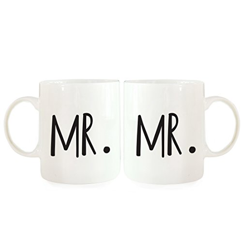 Andaz Press Coffee Mugs Gift Set, Mr, Mr, 2-Pack, Gay Grooms Shower Bachelor Party Wedding Decor Ideas -
