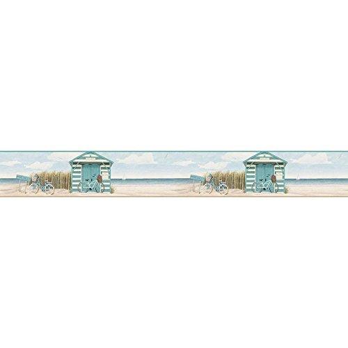 York Wallcoverings Portfolio II Beach Cruiser Border Removable Wallpaper, Aqua