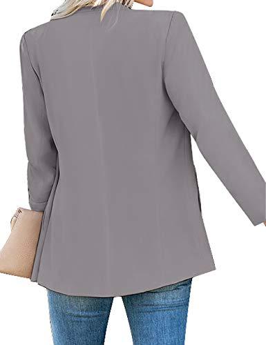 Vetinee Women's Open Front Pocket Blazer Long Sleeve Work Office Cardigan Jacket