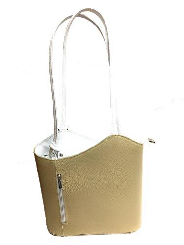 Fashionflash Fashionflash - Bolso cruzados de piel para mujer gris gris claro Talla única crema y blanco