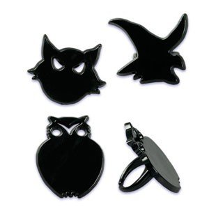 Oasis Supply Cupcake/Cake Decorating Cat, Owl, and Witch Rings, 1 1/2-Inch, Black, -