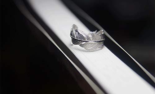 Anillo Ajustable Wristchie Pulsera de Plata de Ley con dise/ño de Plumas de p/ájaros y Plumas de /ángel Abierto