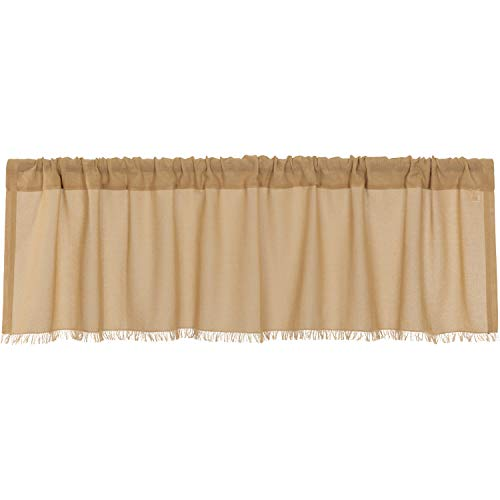 VHC Brands Farmhouse Kitchen Curtains Tobacco Cloth Rod Pocket Cotton Sheer Solid Color 16x60 Valance Khaki Tan ()