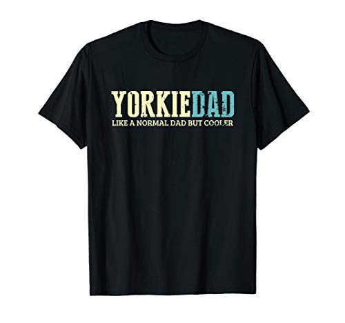 Mens Yorkie Dad Cooler Yorkshire Terrier Daddy Retro Tshirt ()