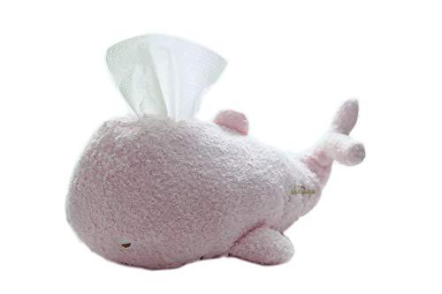 "Plush Facial Tissue Holder - Stuffed Whale, Pink 12"""