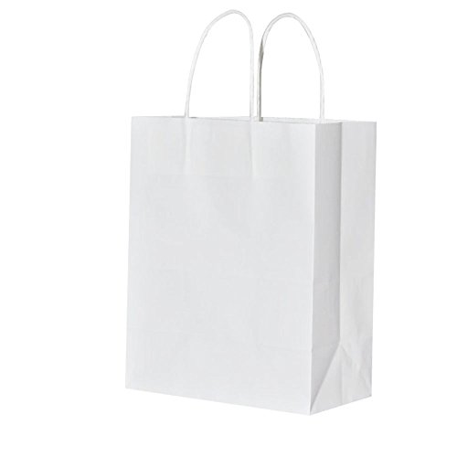 Thicker Paper 10x5x13 Inch Kraft Paper Bags with Handles Bulk,Bagmad Large Paper Bags Shopping,Natural Party Retail Gift Craft Bags,25PCS Count White ()