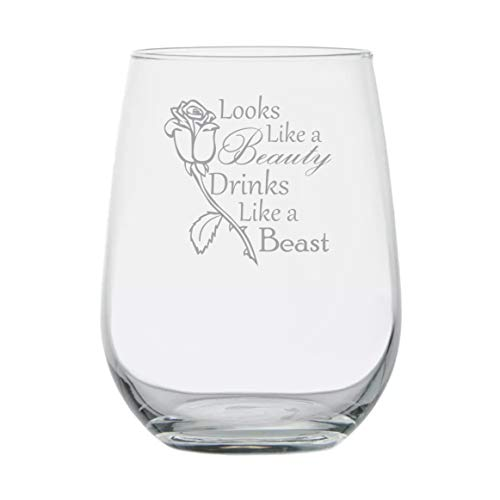 Looks Like a Beauty Drinks Like a Beast - Disney Princess Wine Glass -17 oz Stemless Glass - Made in USA -Funny Birthday Gift - Disney Lover Wine Glasses - Anniversary - Couples Gifts - Princess Belle -