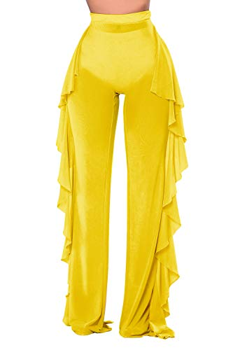 COCOLEGGINGS Women's Sexy Sheer Mesh Ruffle Cover Ups Pants Yellow S