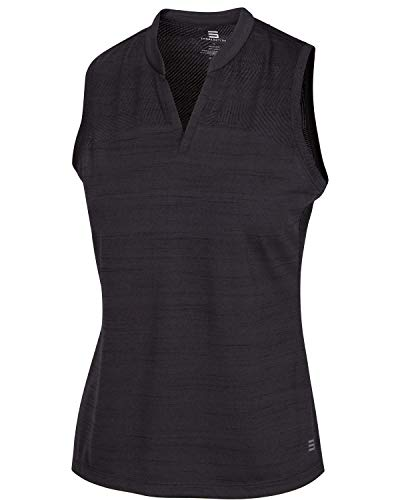 (Three Sixty Six Women's Sleeveless Collarless Golf Polo Shirt - Dry Fit, Breathable, Compression Golf Tops Black Onyx)