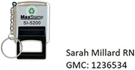 2 righe Timbro per infermieri//ostetriche inchiostrazione personalizzata max 5200 28 x 6 mm