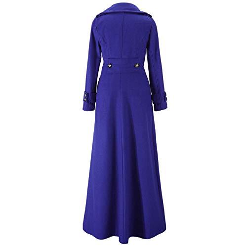 Chinese Da In Zhrui Nero Lungo L Blu Maxi Donna colore Invernale Dimensione Cappotto Lana Long pTx7xq1wZg