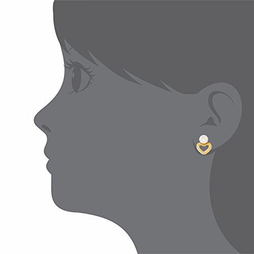 Petit cœur Blanc Perle à dos pour fille Plaqué Or Boucles d'oreilles d'Oreilles 5 mm