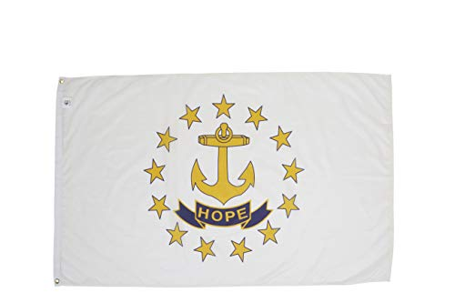 Allied Flag - 2' x 3' Outdoor Nylon Rhode Island State Flag - Made in USA - Vivid Color and Fade Resistant - Reinforced Hem and Brass Grommets