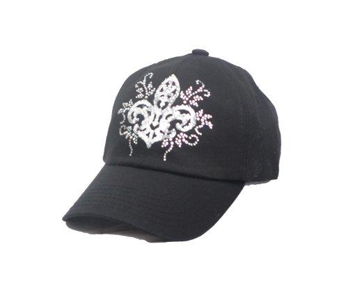 White Fleur De Lis Swirls Ab Rhinestone Black Baseball Hat Cap -