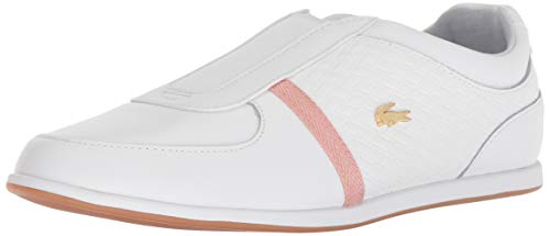 (Lacoste Women's Rey Slip 318 1 Sneaker White/Pink Leather 8 Medium)