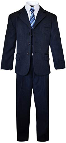 Boys Pinstripe Suit in Grey with Matching Tie Size 2-20 (5, Dark Navy Blue)