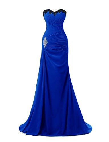 Ysmo 2016de las mujeres gasa appliques Beaded largo de sirena vestido de noche Prom Fiesta azul real