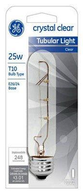 GE 45144-5 25-Watt Crystal Clear Tubular T10 Light Bulb, 5-Pack
