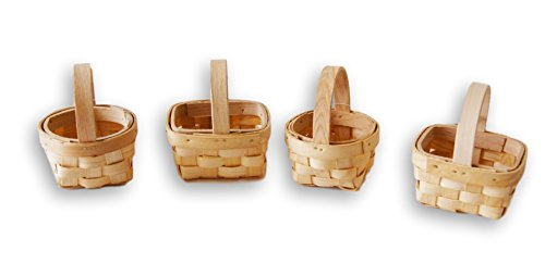 - Small Wood 3'' Basket Easter Wedding Favor - Set of 4
