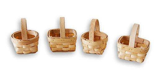 (Small Wood 3'' Basket Easter Wedding Favor - Set of 4)