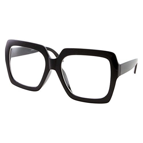 XL Black Thick Square Oversized Clear Lens Glasses - Men and Women Costume or Fashion (Black)]()