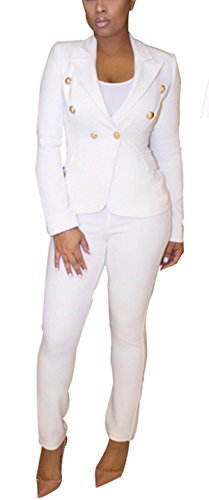 Womens White Pants Suit (Allonly Women's Double Breasted Button Jacket Pants Suit Business)