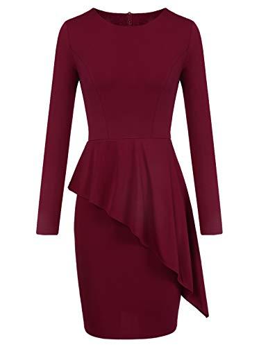 MAVIS LAVEN Modest Peplum Dress for Women Bodycon Long Sleeve Pencil Dress Large Wine Red ()