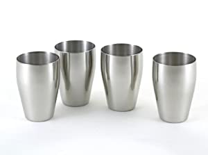4 pc brilliant stainless steel small drinking glass set 8 oz small tumbler set. Black Bedroom Furniture Sets. Home Design Ideas