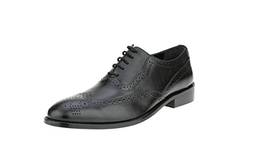 Black Croco High Heel (Liberty Men's Handmade Leather Classic Brogue Wing-Tip Lace Up Perforated Toe Dress Oxford Shoes)
