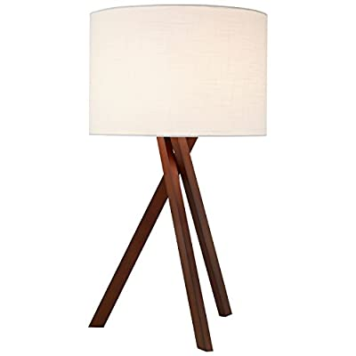 "Rivet Atlas Tripod Wood Table Lamp, With Bulb, Walnut Finish, 27"" x 15"" x 15"" - Bring all-around charm into your home with this fun, functional table lamp with walnut tripod legs. This will fit with your existing style and provide warm light during many evenings with family and friends. Classic and modern style Constructed from metal, wood and fabric - lamps, bedroom-decor, bedroom - 31YtTd7JaQL. SS400  -"