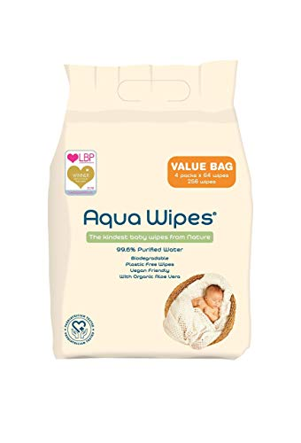 🥇 Aqua Wipes 99.6% Purified Water 256 Baby Wipes Value Bag