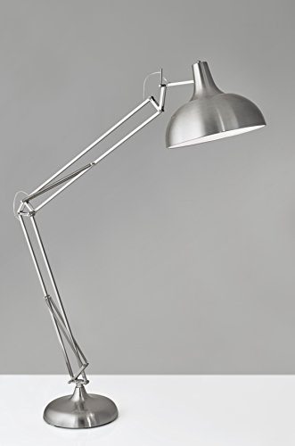 Adesso 3366-22 Atlas Floor Lamp - Adjustable Night Lamp in Satin Steel - Smart Outlet Compatible Lighting Fixture. Home Decor and Lighting - Decorative Floor Lamp: displaying the perfect blend of style and function, this incandescent lamp will surely complement any home or office decor setting Durable Lighting Fixture: is manufactured with premium-grade steel for high performance and longevity. Standing lamp features a round-shaped base and shade in satin steel finish Adjustable Night Lamp: comes with an easy-to-use and install design. Metallic floor lamp features an adjustable base, shade and joints - living-room-decor, living-room, floor-lamps - 31YtVpBfiuL -