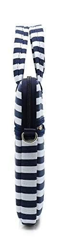 Kayond Canvas Fabric Ultraportable Neoprene Laptop Carrying Case/Shoulder Messenger Bag/Daily Briefcase Work/School/Travel(15-15.6, Breton Stripe) by kayond (Image #9)